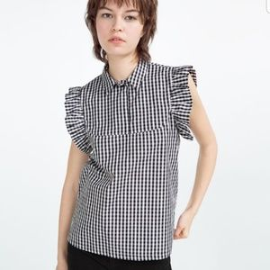 Zara Trafaluc Collection Gingham Blouse NWOT